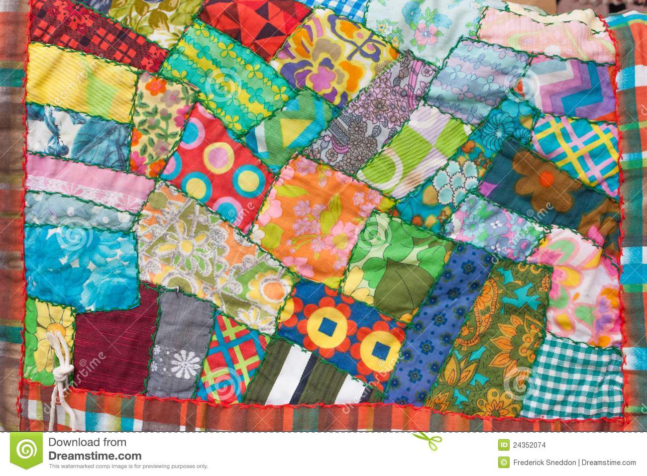Photo Patchwork Crazy Patchwork Quilt Stock Photo. Image Of Handcrafted
