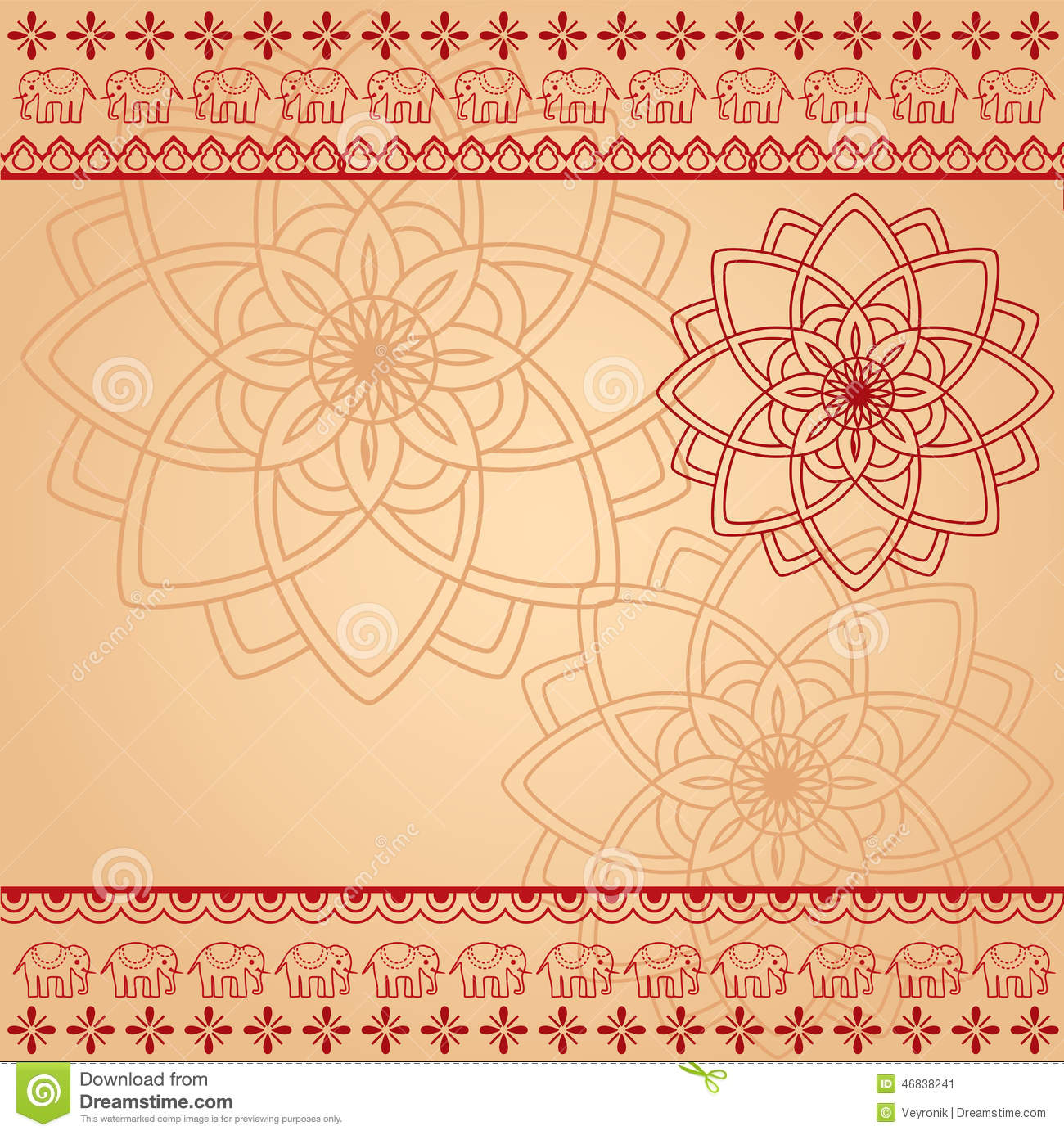 Durga Puja 3d Wallpaper Cream And Red Henna Mandala And Elephant Background Stock