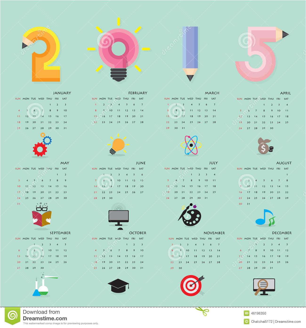 Calendar Template November And December 2015  Creative Calendar 2015 Design Template With Business Or