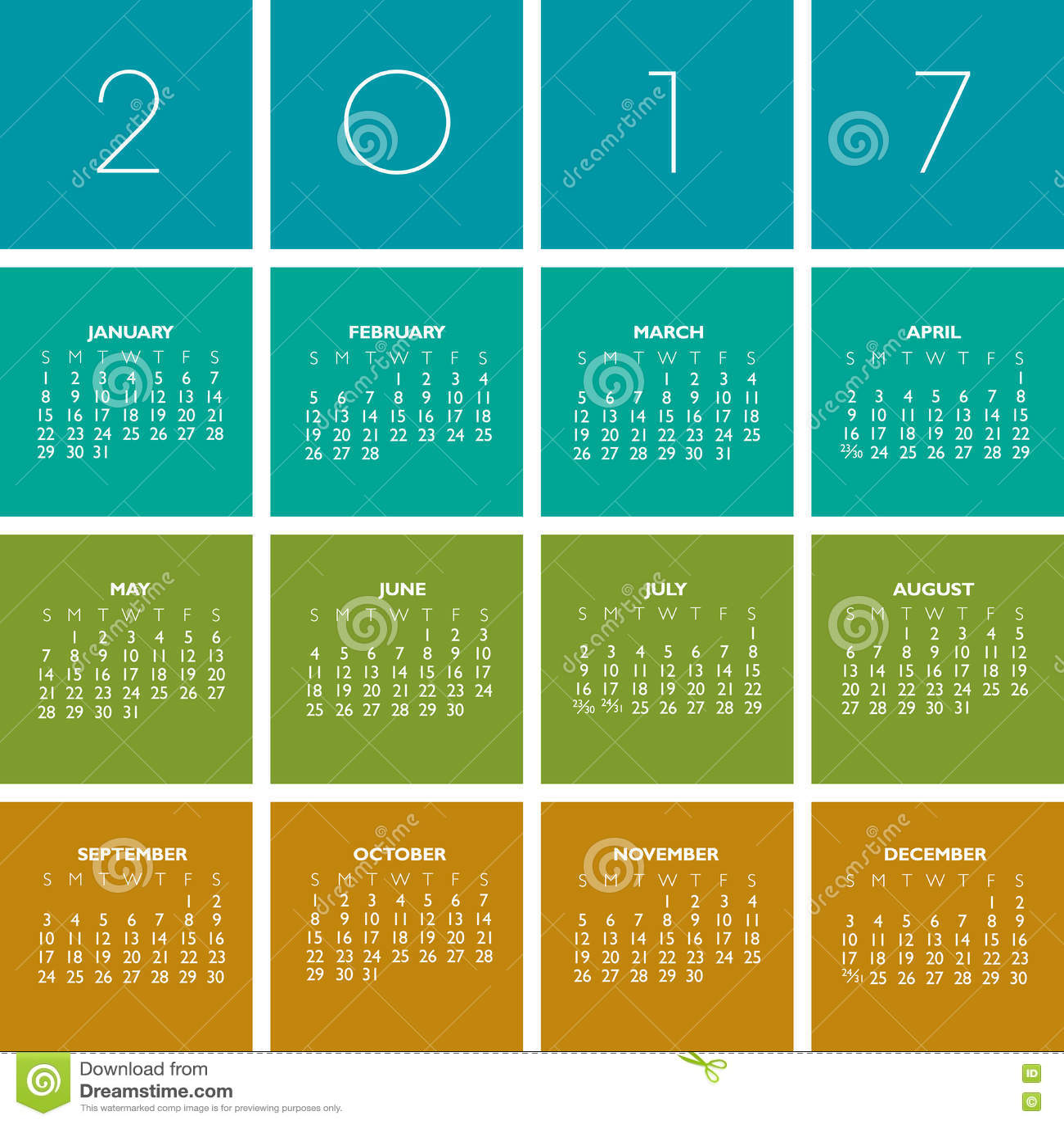Set Up A Calendar Year Is Momentjs Docs 2017 Creative Colorful Calendar Stock Vector Image 71171255