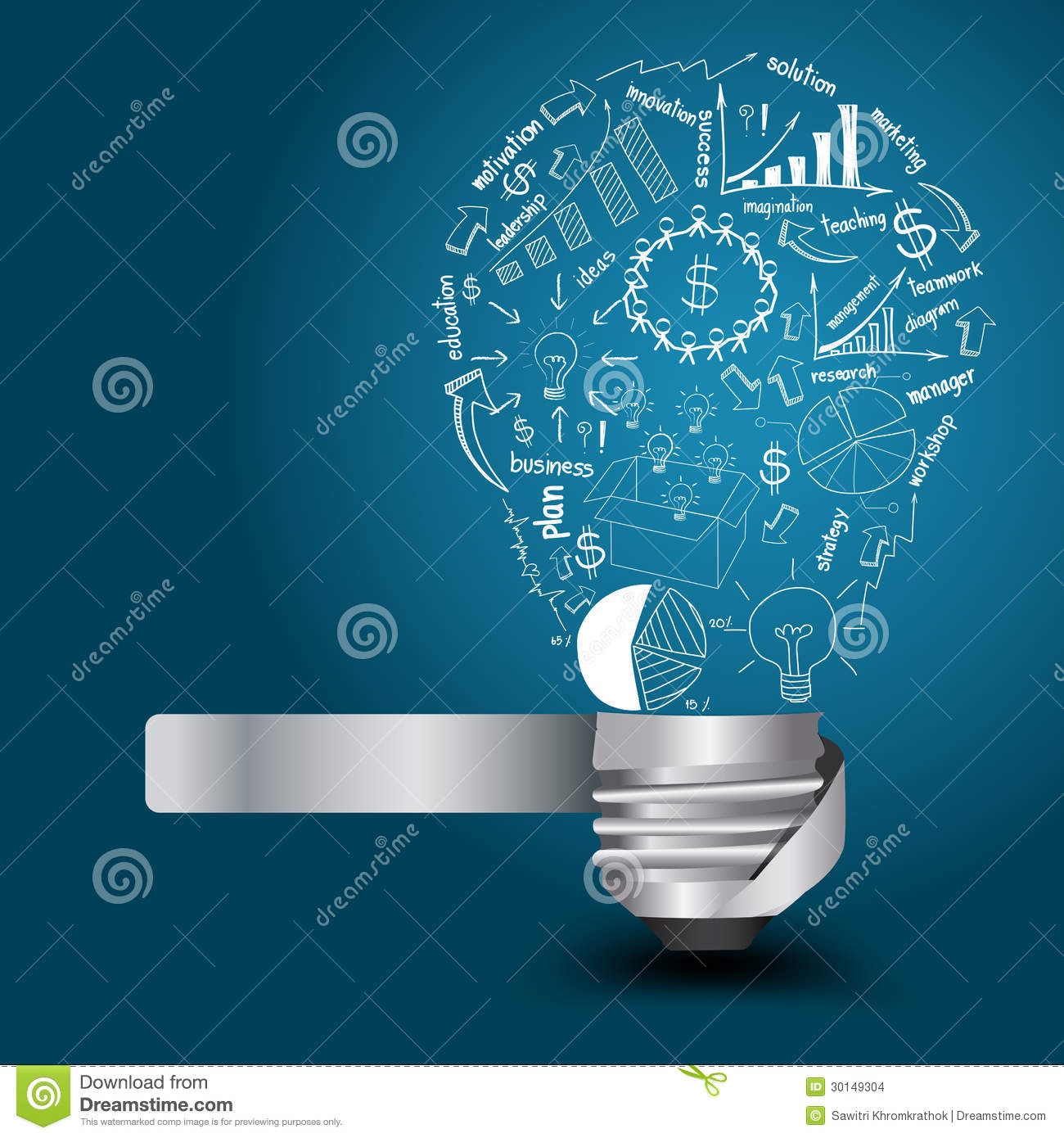 Modern Lighting Concept Vector Light Bulb With Drawing Business Strategy P Stock