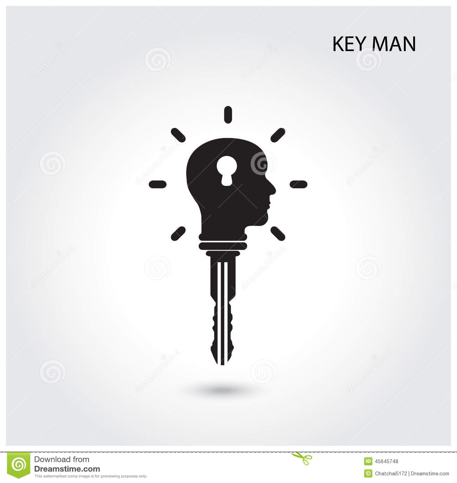 Creative silhouette head idea concept with key symbol