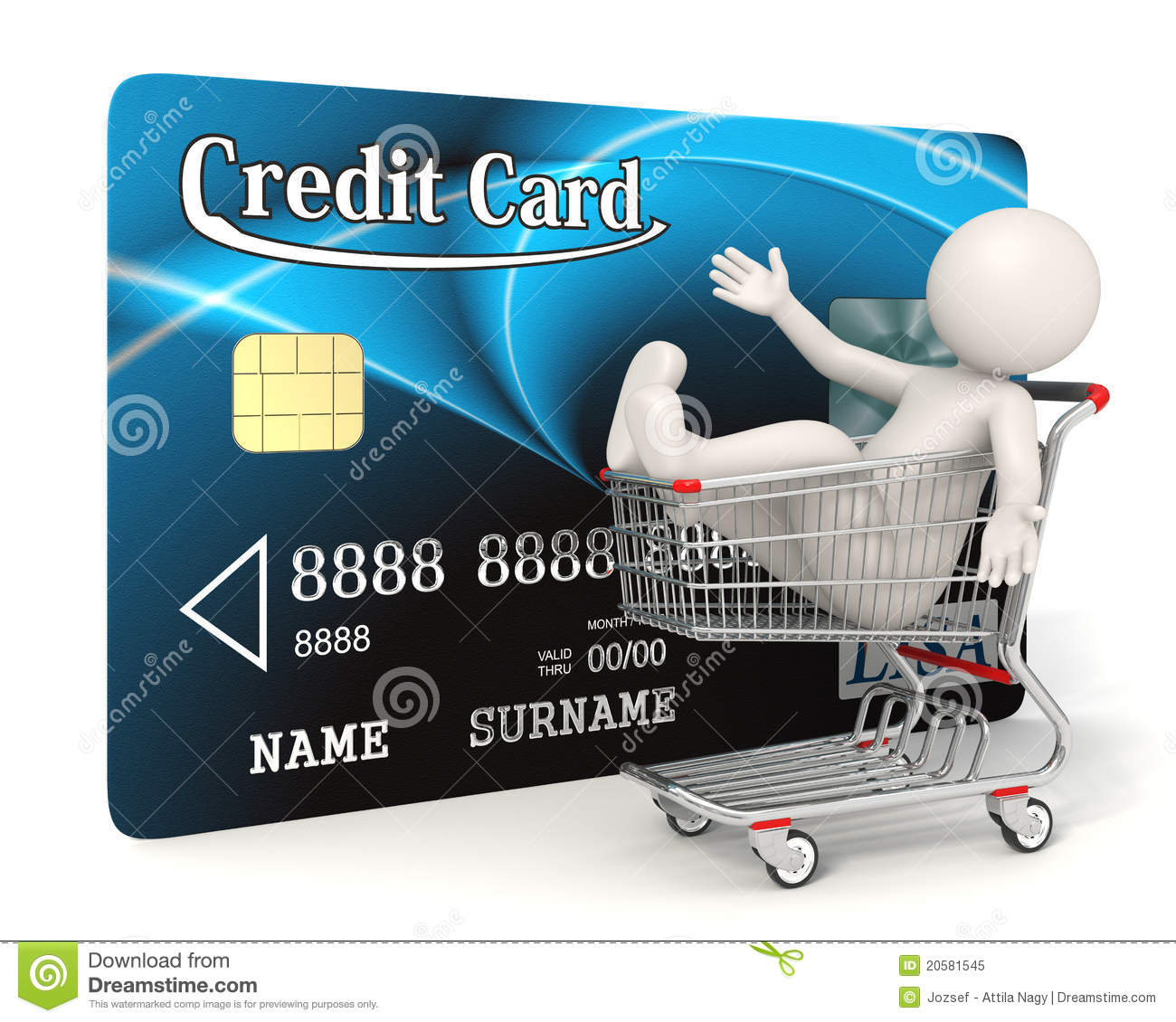 Stores Credit Card Credit Card 3d Man Shopping Cart Stock Illustration