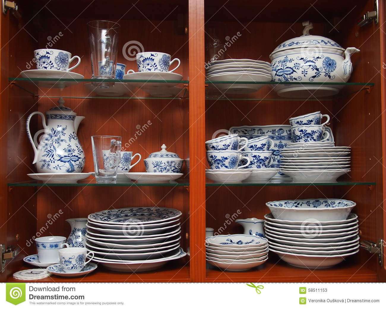 Buffet Vaisselle Crockery In Wooden Kitchen Cabinet Stock Photo - Image