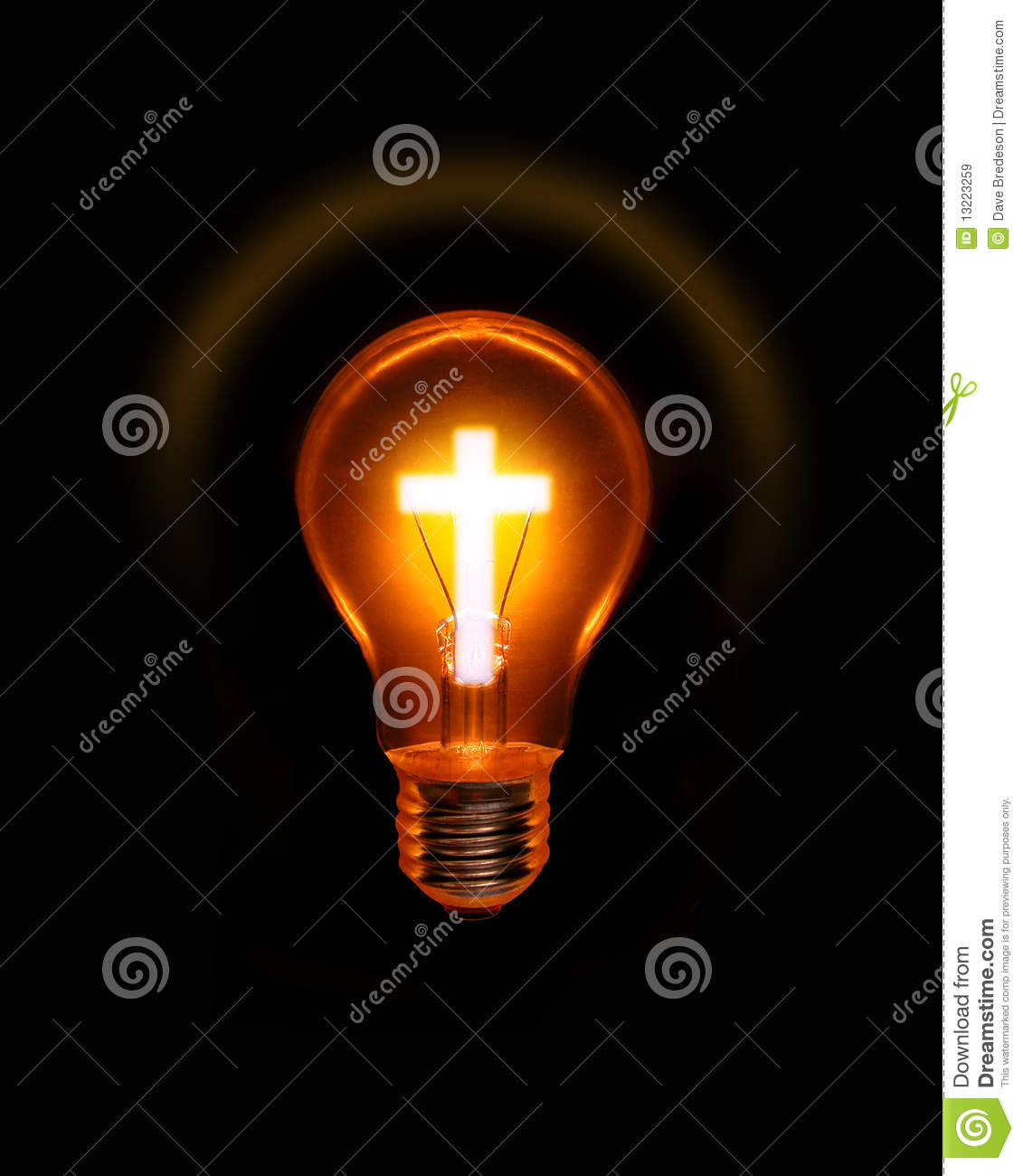 Fluorescent Lamp Cross Light Bulb Christian Spiritual Royalty Free Stock