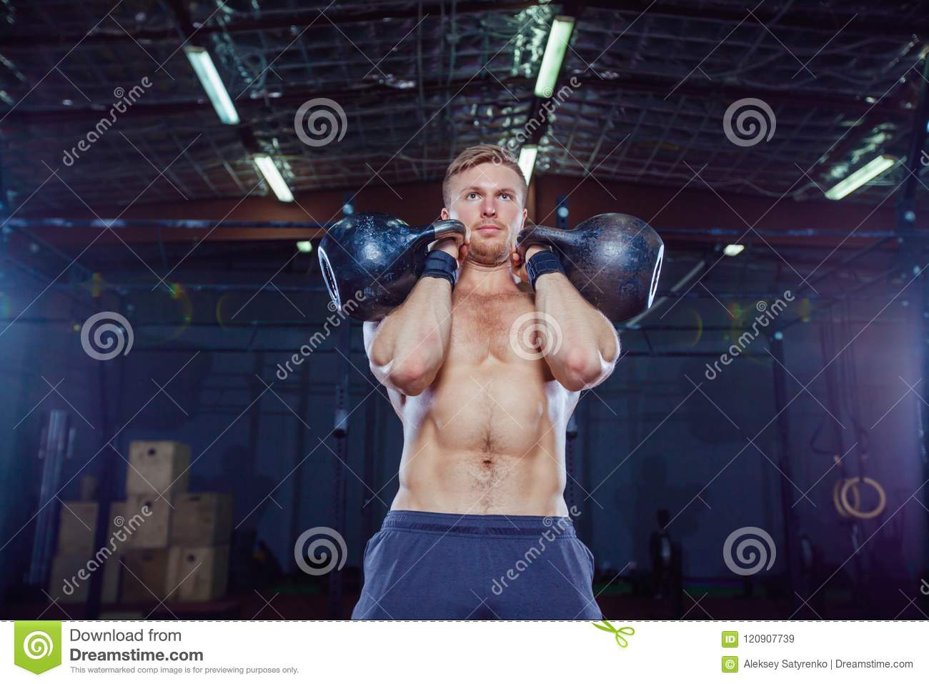 Kettlebell Bodybuilding Cross Training Fit Fitness Man Doing A Weight Training By Lifting