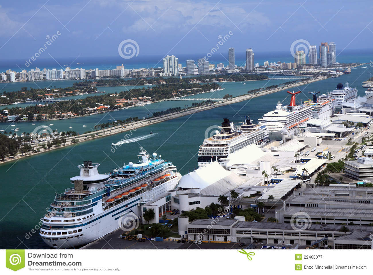 Miami Port Cruise Ships At Miami Port Stock Image Image Of Boats 22468077