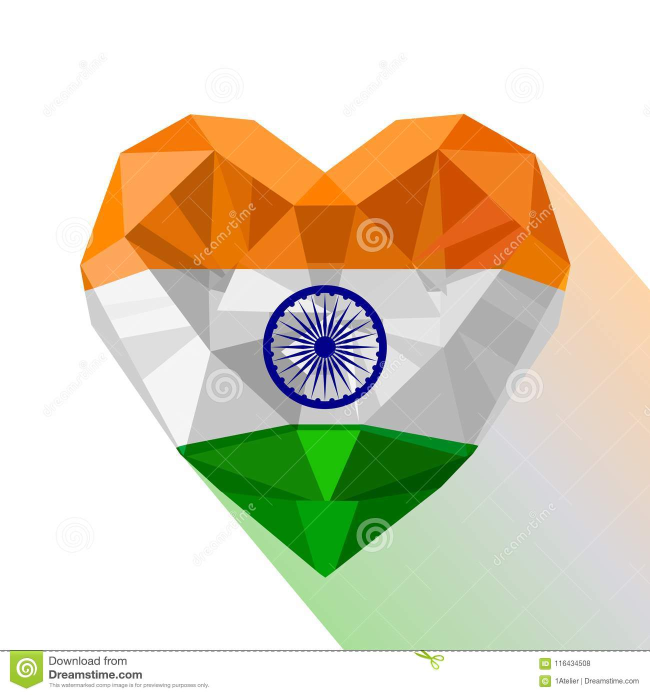 Drapeau India Crystal Heart The Flag Of Republic Of India Stock Vector
