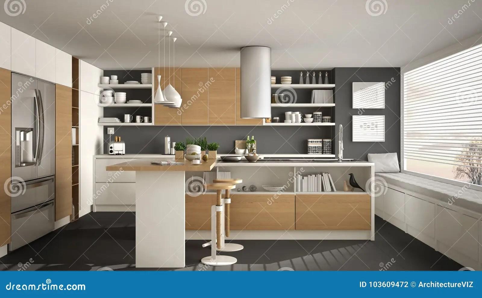 Cucina Moderna Grigia E Legno | Cucina Rovere Grigio E Bianco ...