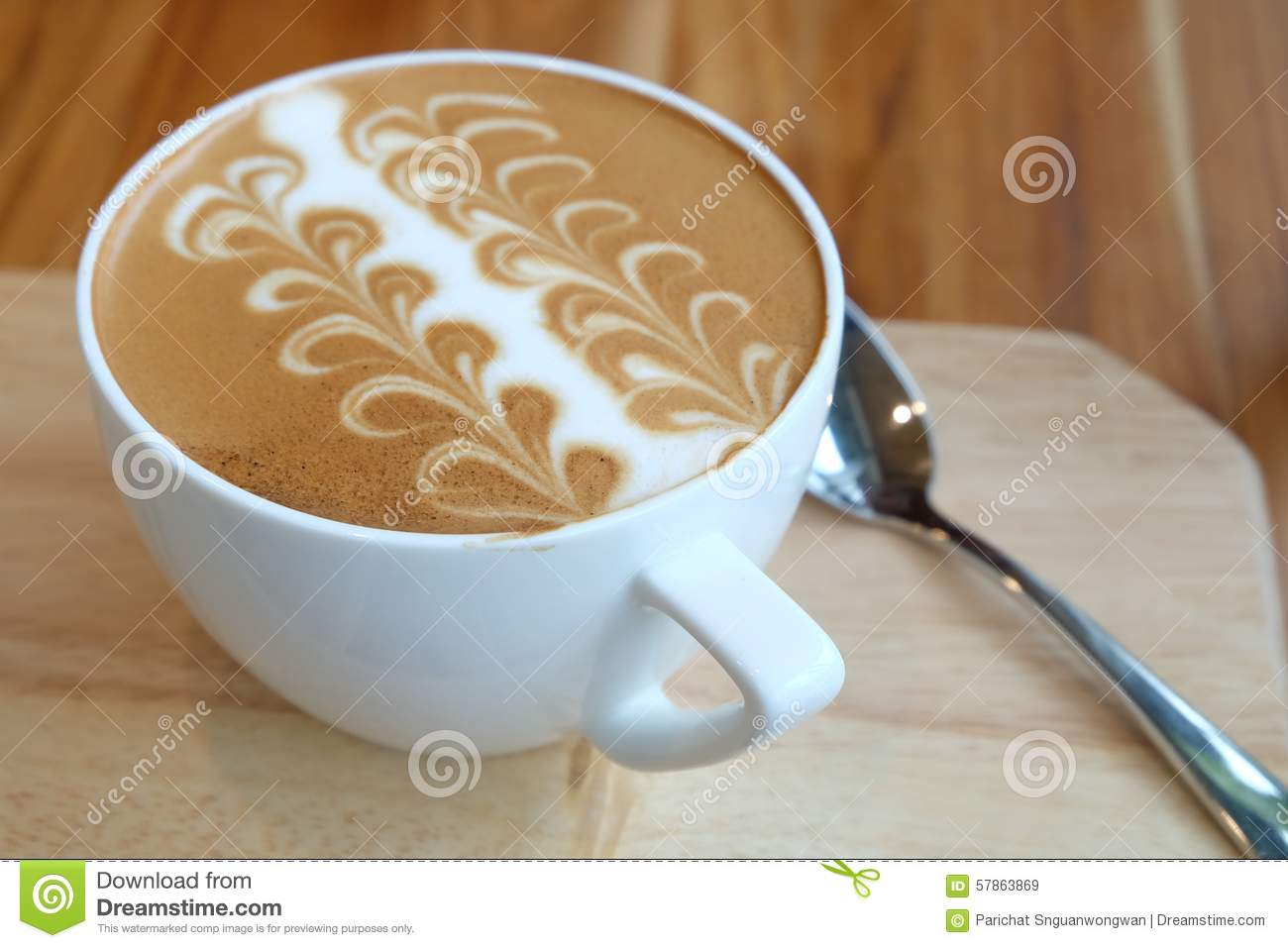 Caffe Latte A Cup Of Caffe Latte Art Stock Image Image Of Cafe Morning