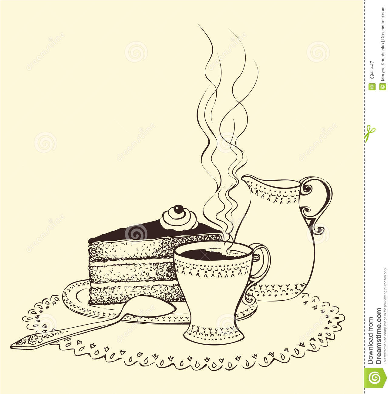 Clipart Kuchen Und Torten A Cup Of Coffee Cake And Milk Jug Royalty Free Stock