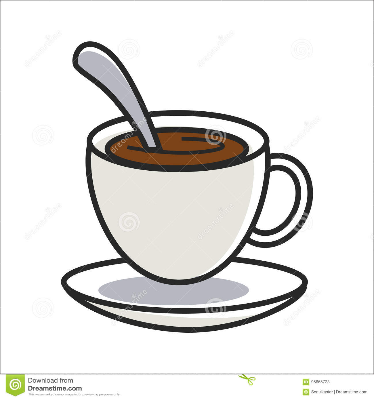 Small Coffee Cups And Saucers Cup Of Coffee On Saucer And With Spoon Inside Stock Vector