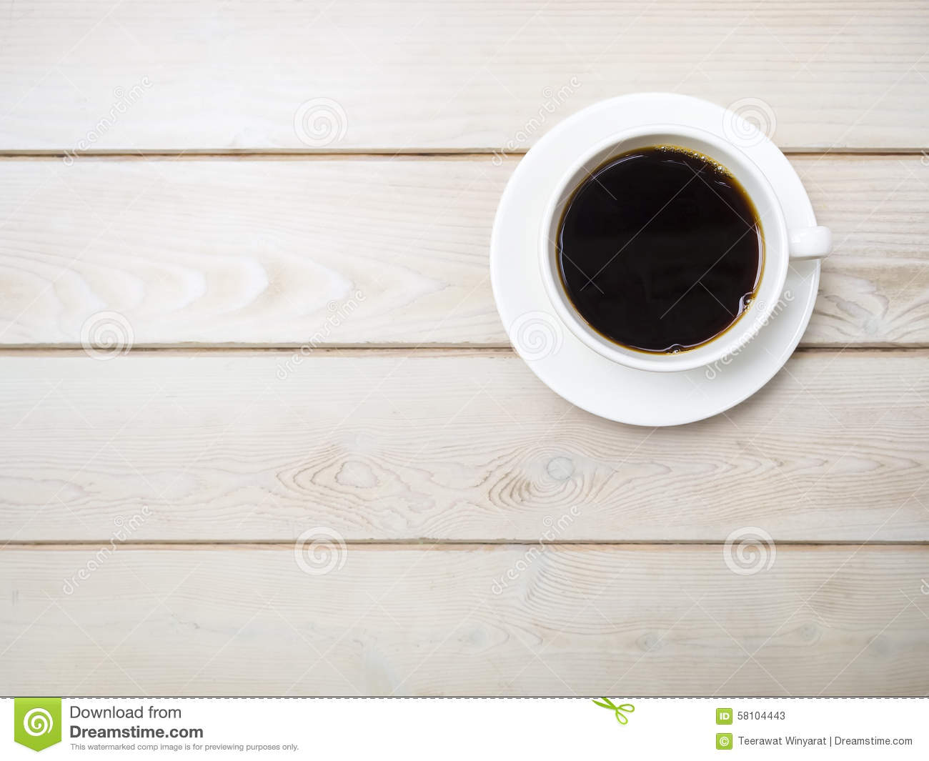 Cafe Table Tops Cup Of Fresh Coffee On Wooden Table Top View Stock Image