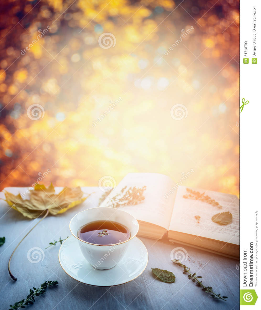 Fall Wooden Wallpaper Cup Of Tea With Thyme Autumn Leaves And Open Book On