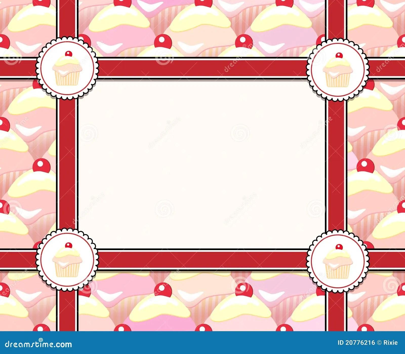 Cute Ribbons Wallpaper Cupcake Frame Royalty Free Stock Image Image 20776216