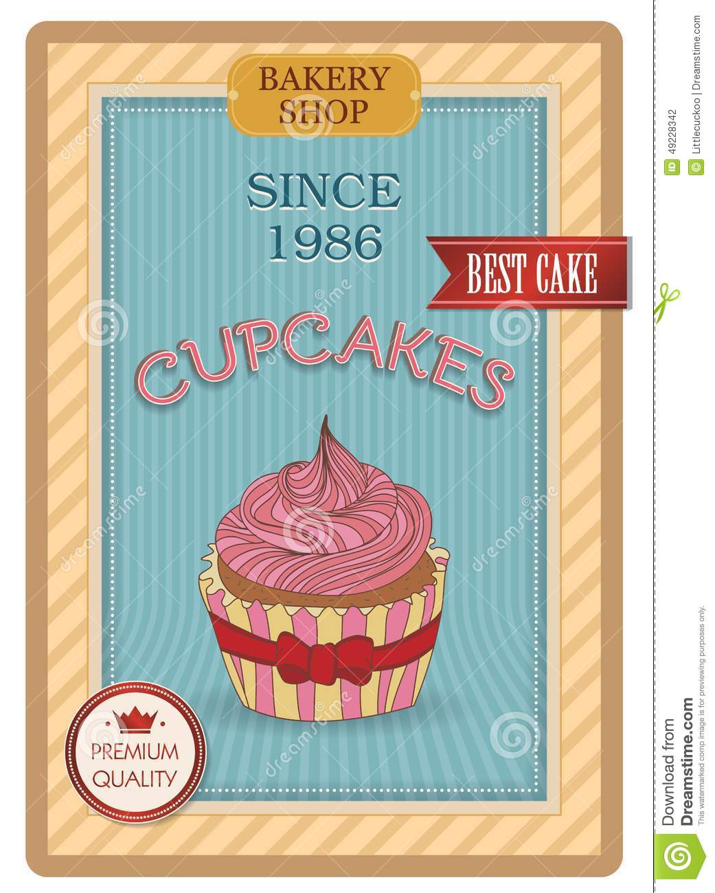 Poster Küche Retro Cupcake Poster Retro Vintage Design Stock Vector Illustration