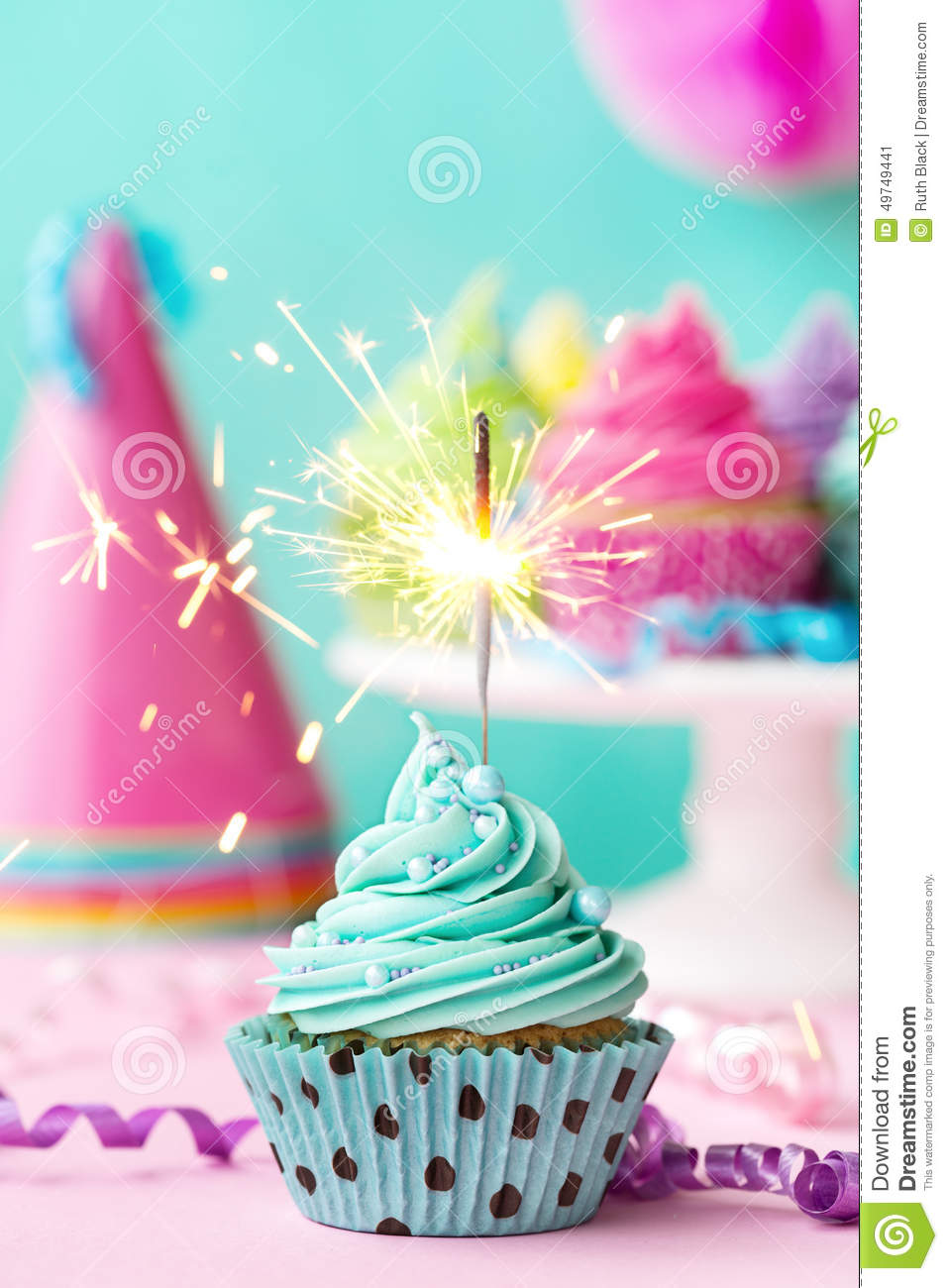 Birthday Candle Hat Cupcake With Sparkler Stock Photo - Image: 49749441