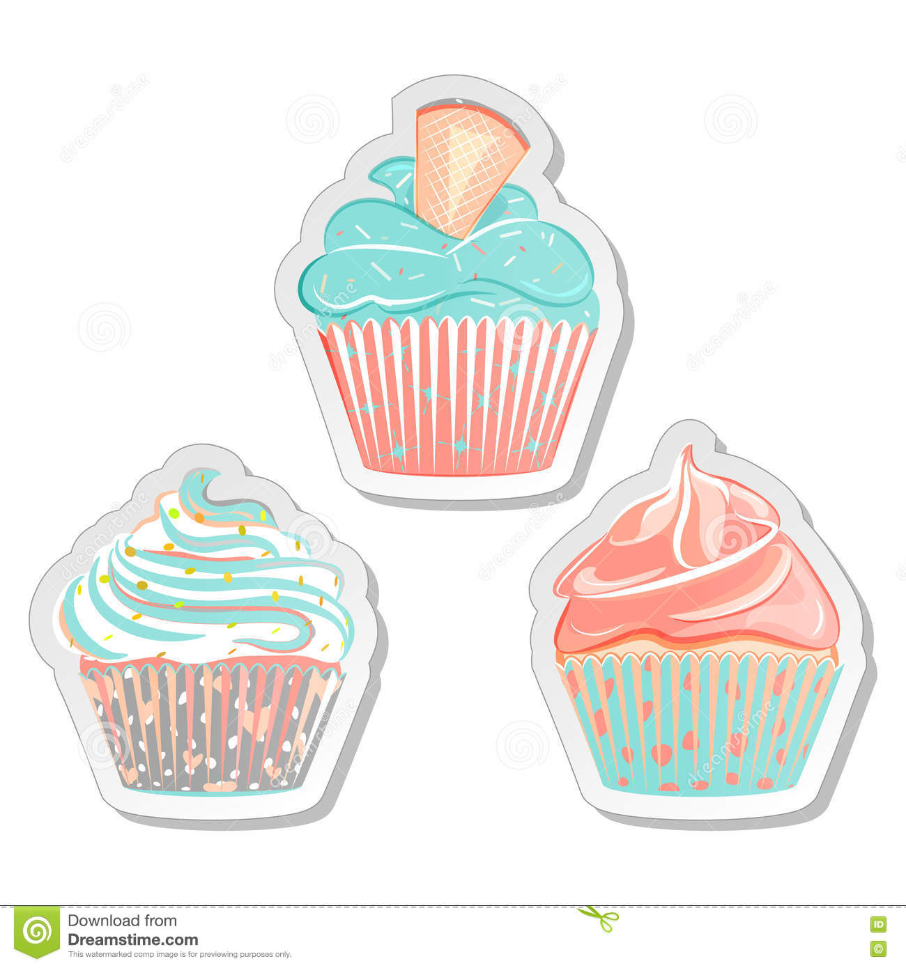 Vector Cupcakes Illustration Auto Electrical Wiring Diagram Diy Diagrams 3wayswitchwith6lights Cupcake Stickers Food Labels Set In Pastel Colors Stock