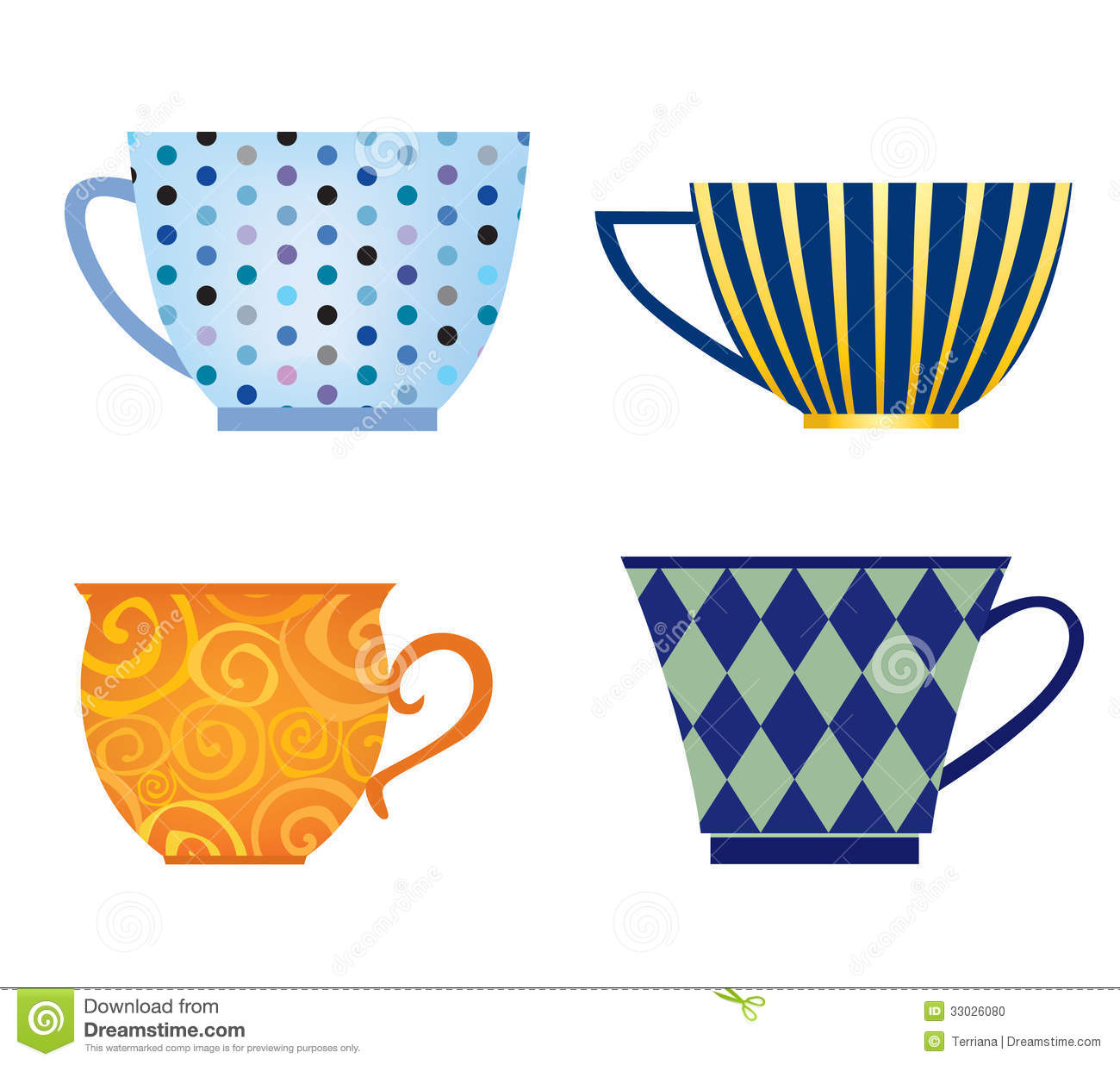 Cute Coffee Mug Wallpaper Cups Of Different Shape Set Stock Photo Image 33026080