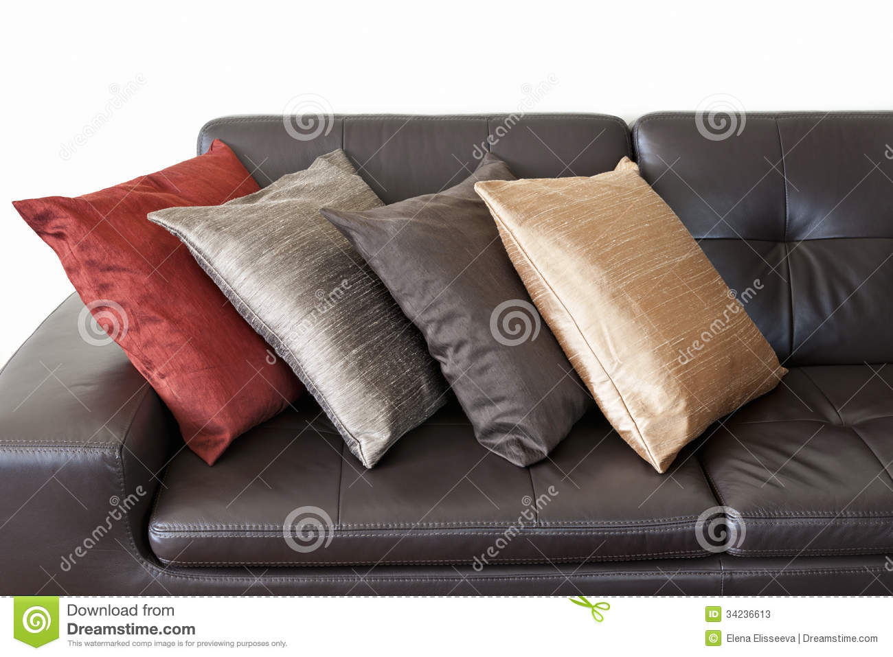 Cushions For Brown Leather Sofas Cushions On Leather Sofa Stock Image Image Of Luxurious