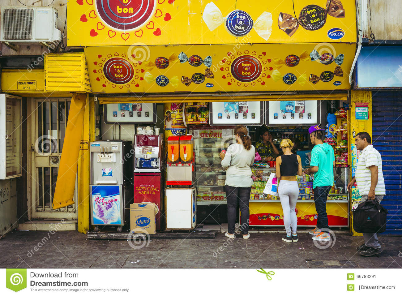 Yellow Shop Customers Line Up At A Candy Store In Argentina Editorial