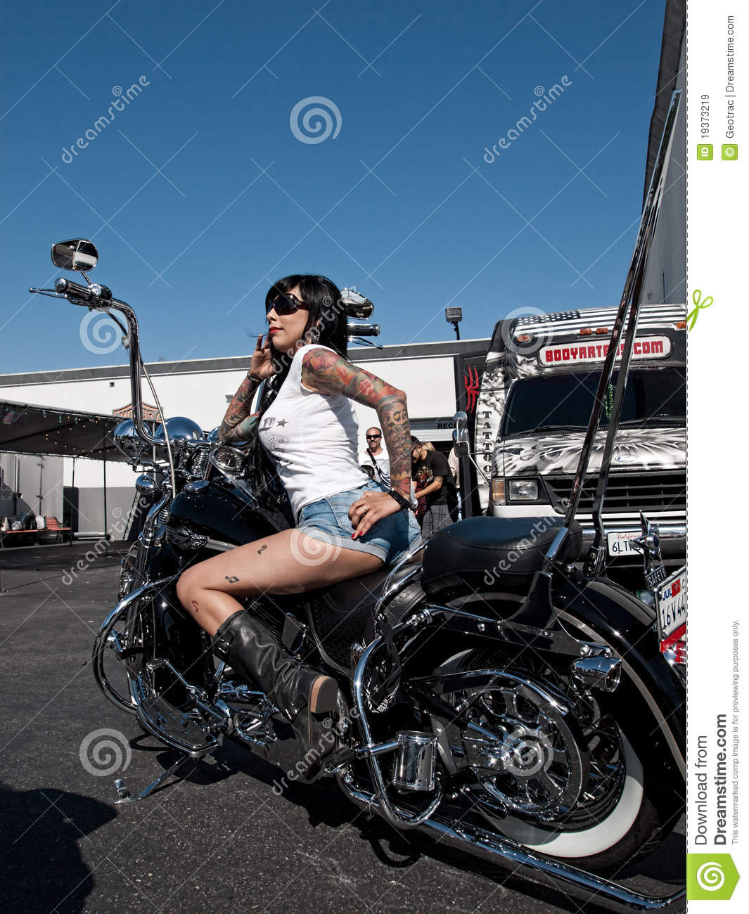 Biker Girl Wallpaper Free Download Customized Harley Davidson Motorcycle Editorial Stock