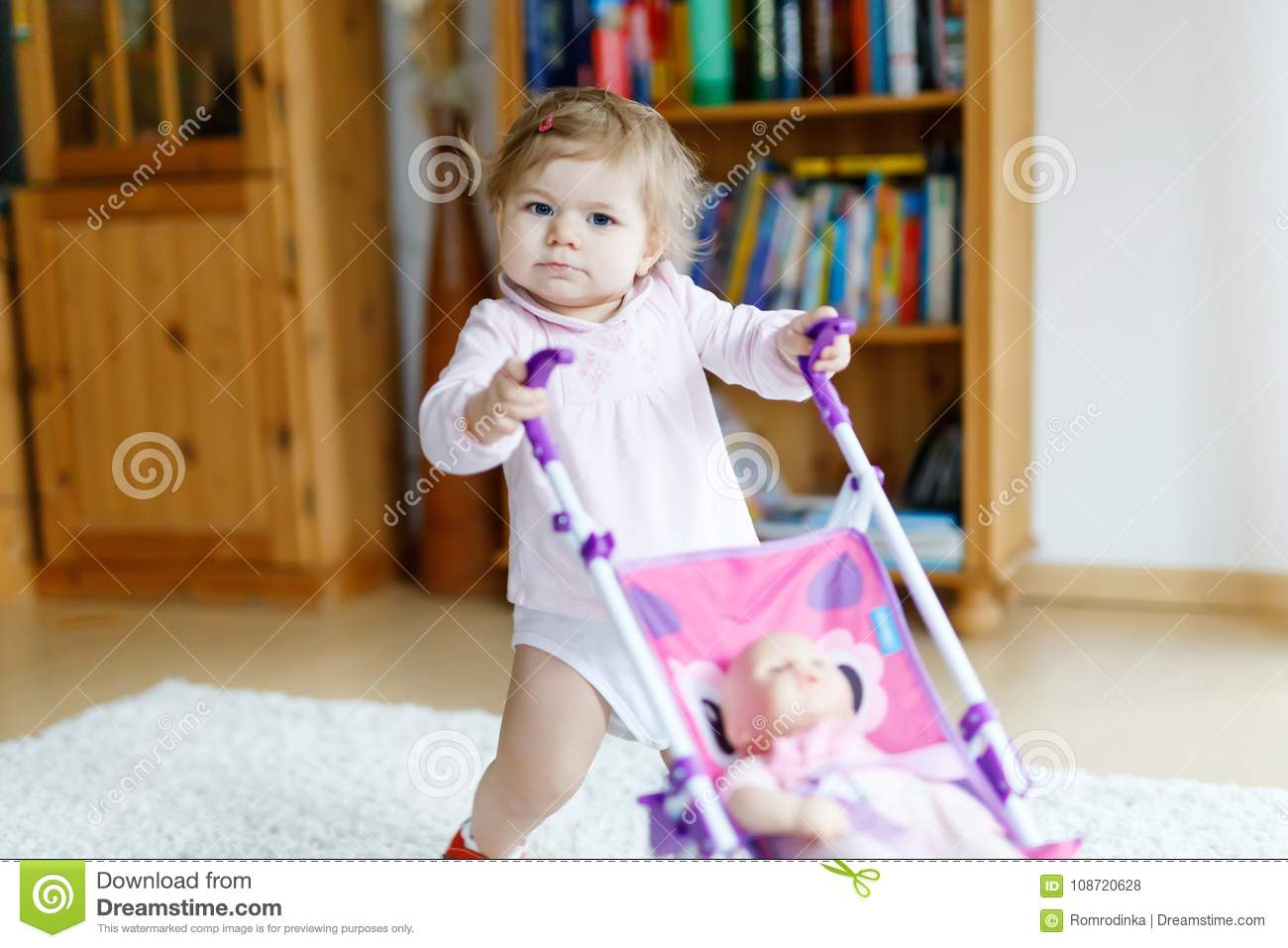 Baby Pushing Pram Youtube Cute Adorable Baby Girl Making First Steps With Doll