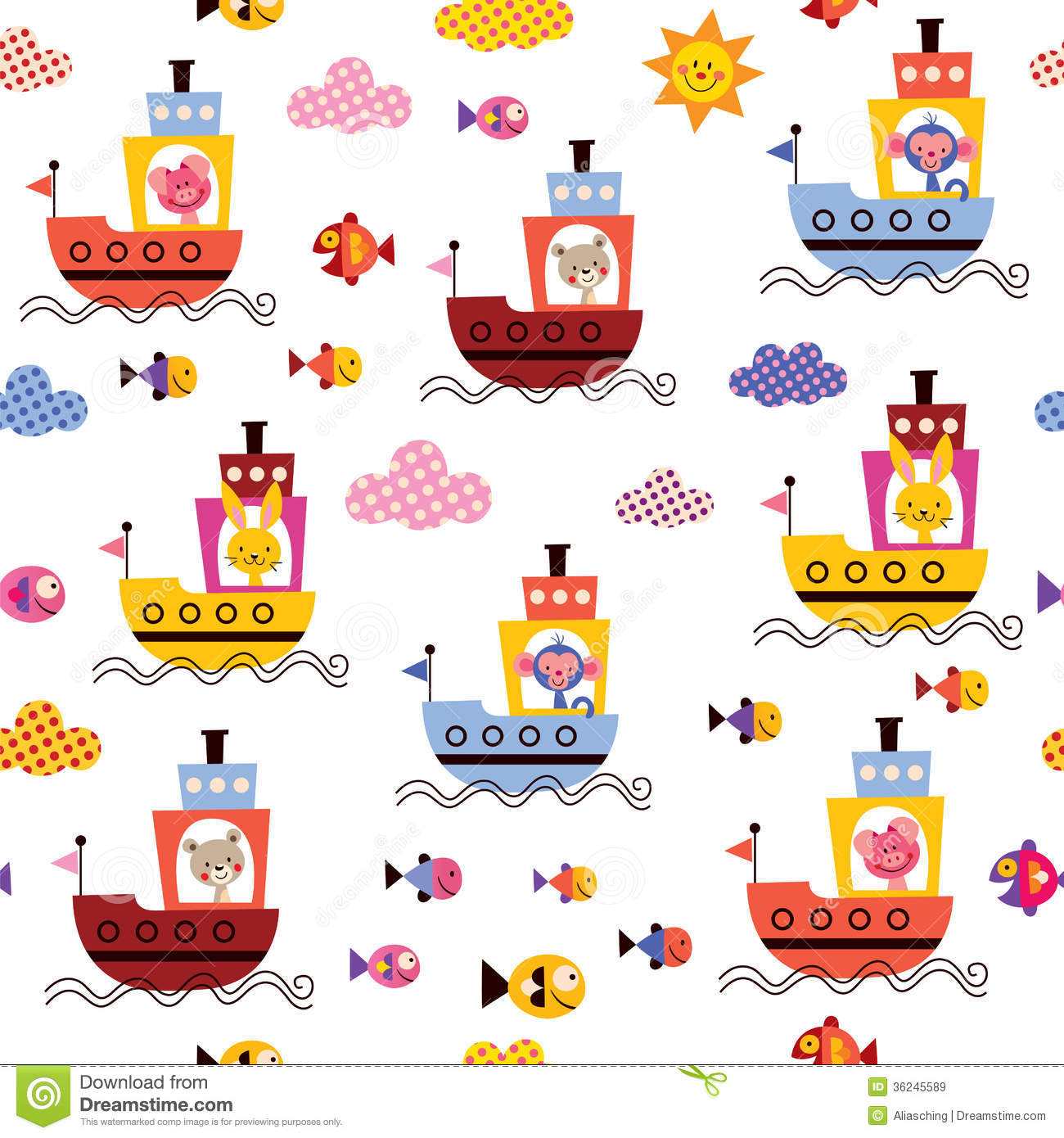 Cute Nail Arts Wallpaper Cute Animals In Boats Kids Sea Pattern Royalty Free Stock