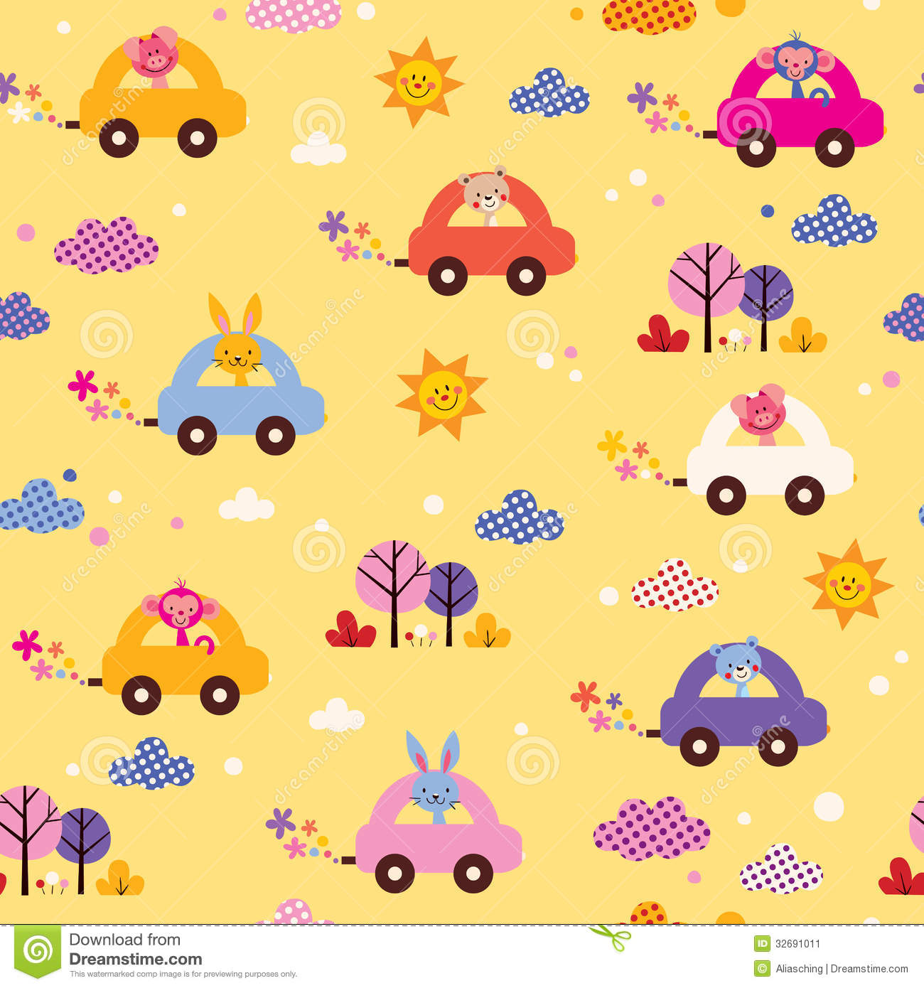 Cute Bees Wallpaper Cute Animals Driving Cars Kids Pattern Stock Image Image