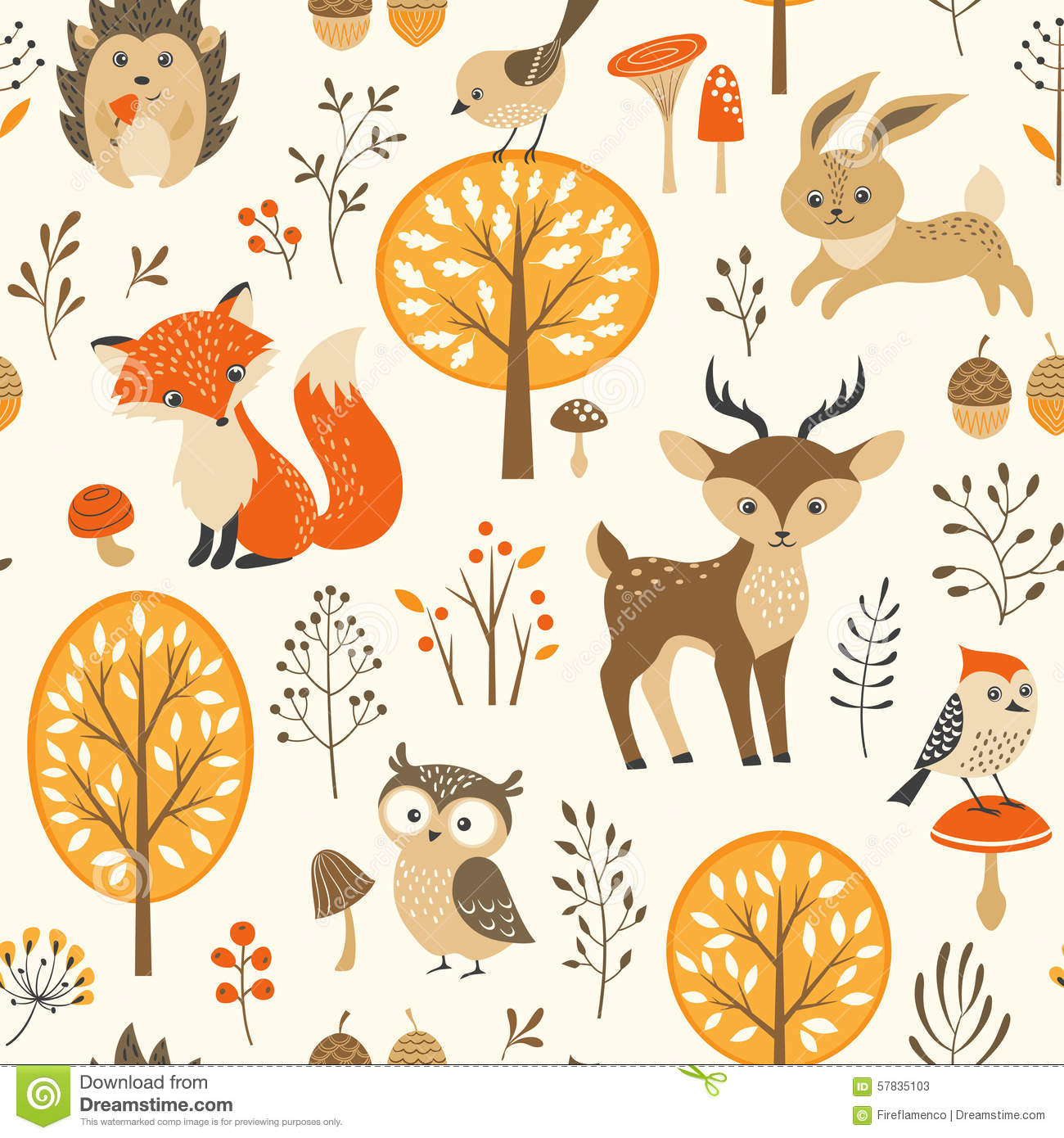 Fall Pumpkin Iphone Wallpaper Cute Autumn Forest Pattern Stock Vector Image 57835103