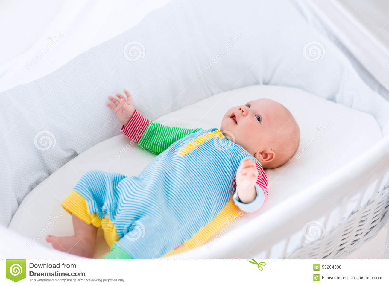 Baby Bassinet Linen Cute Baby Boy In A White Crib Stock Photo Image Of Crib