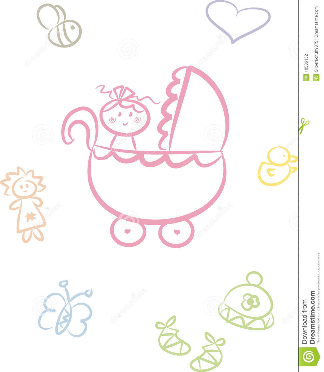 Toddler Stroller Toy Cute Baby Doodle Set Girl Stock Photography Image