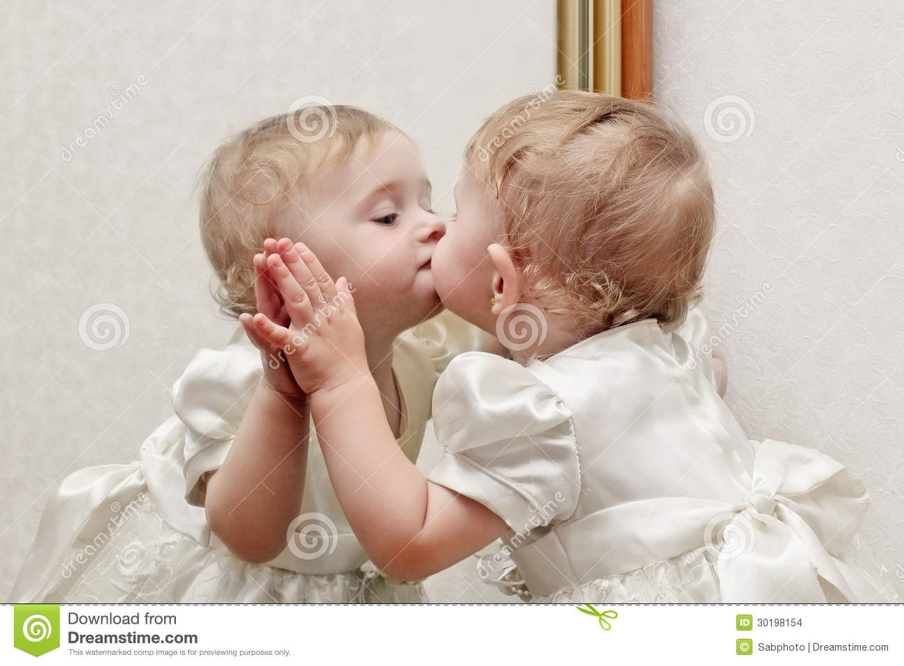 Cute Wallpapers Of All Kind Of Animals Baby Kissing A Mirror Stock Images Image 30198154