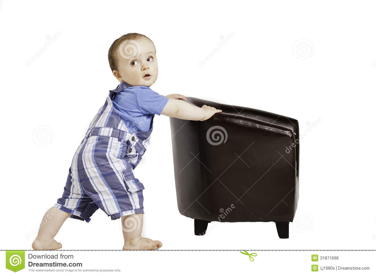 Cute Baby Pushes A Small Chair Stock Photo Image Of Cute