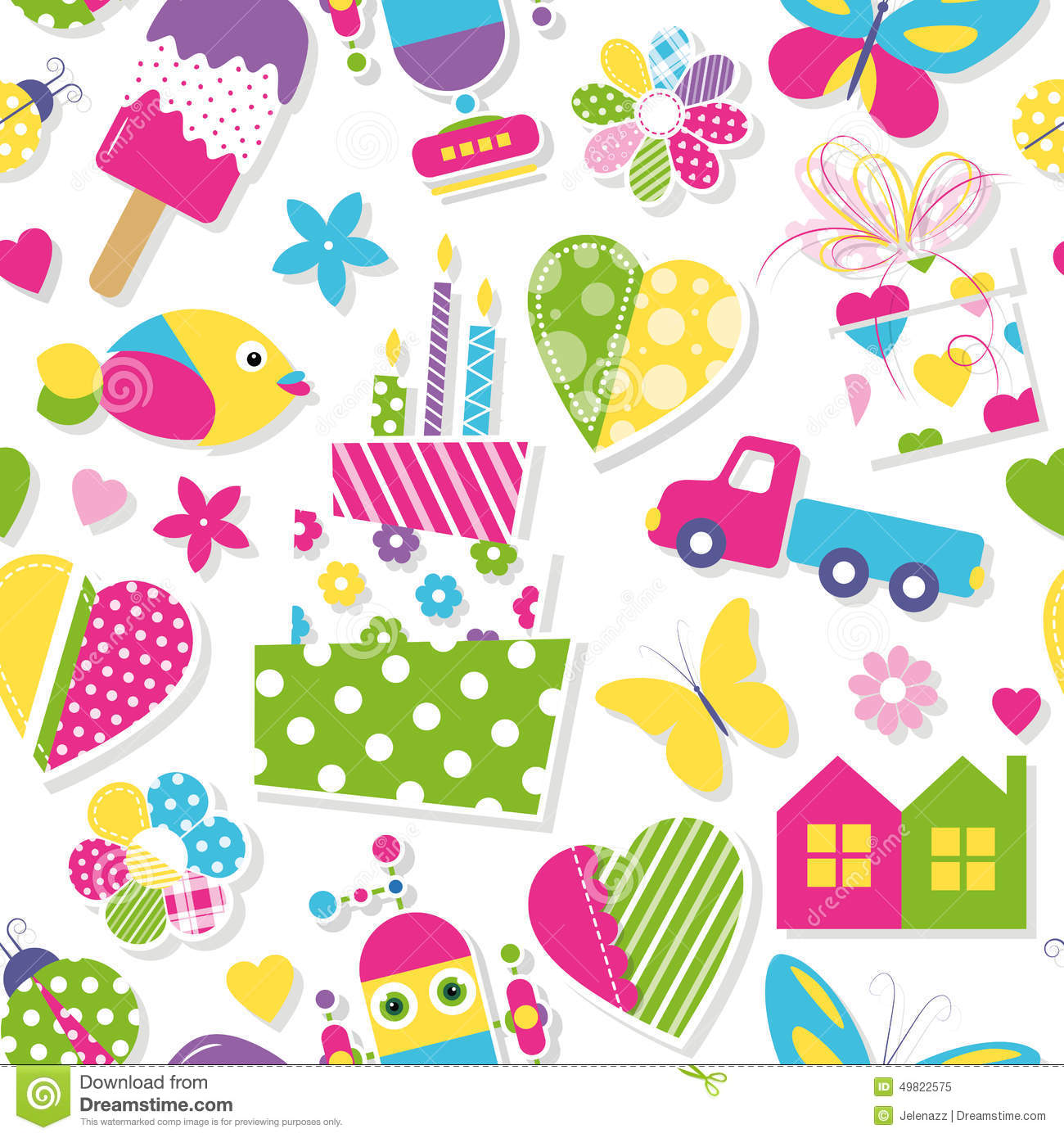 Girl Baby Shower Wallpaper Cute Birthday Cake Hearts Flowers Toys And Animals
