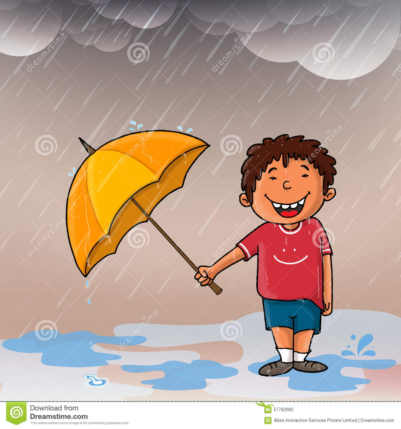 Indian Independence Day 3d Wallpapers Cute Boy Enjoying Rain Stock Illustration Image 57762082