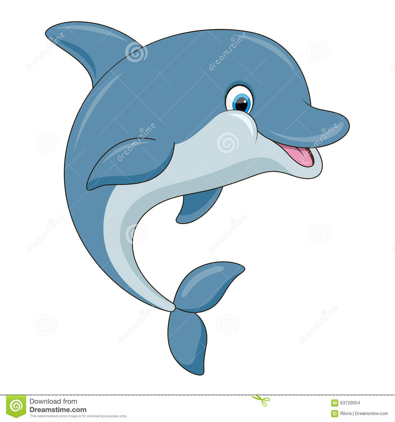 3d Animation Desktop Wallpapers Free Download Cute Cartoon Dolphin Vector Illustration Stock Vector