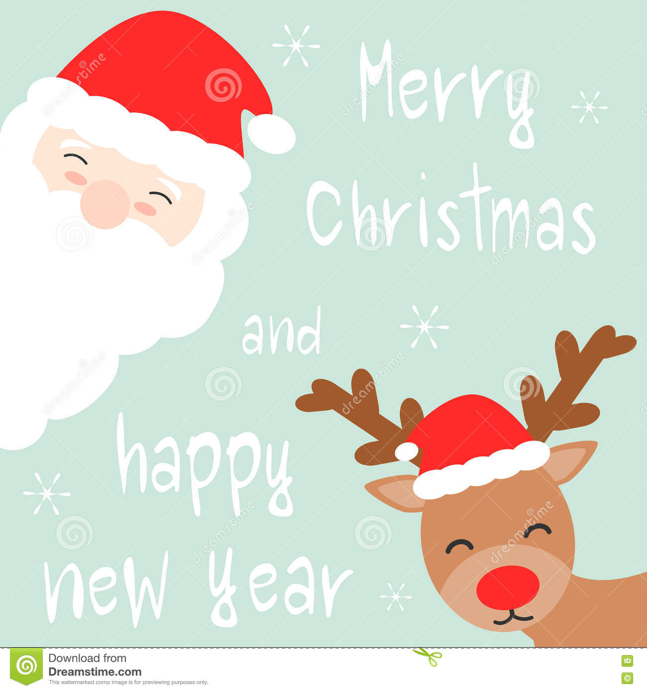Carte Cadeau Wish Cute Cartoon Hand Drawn Merry Christmas And Happy New Year