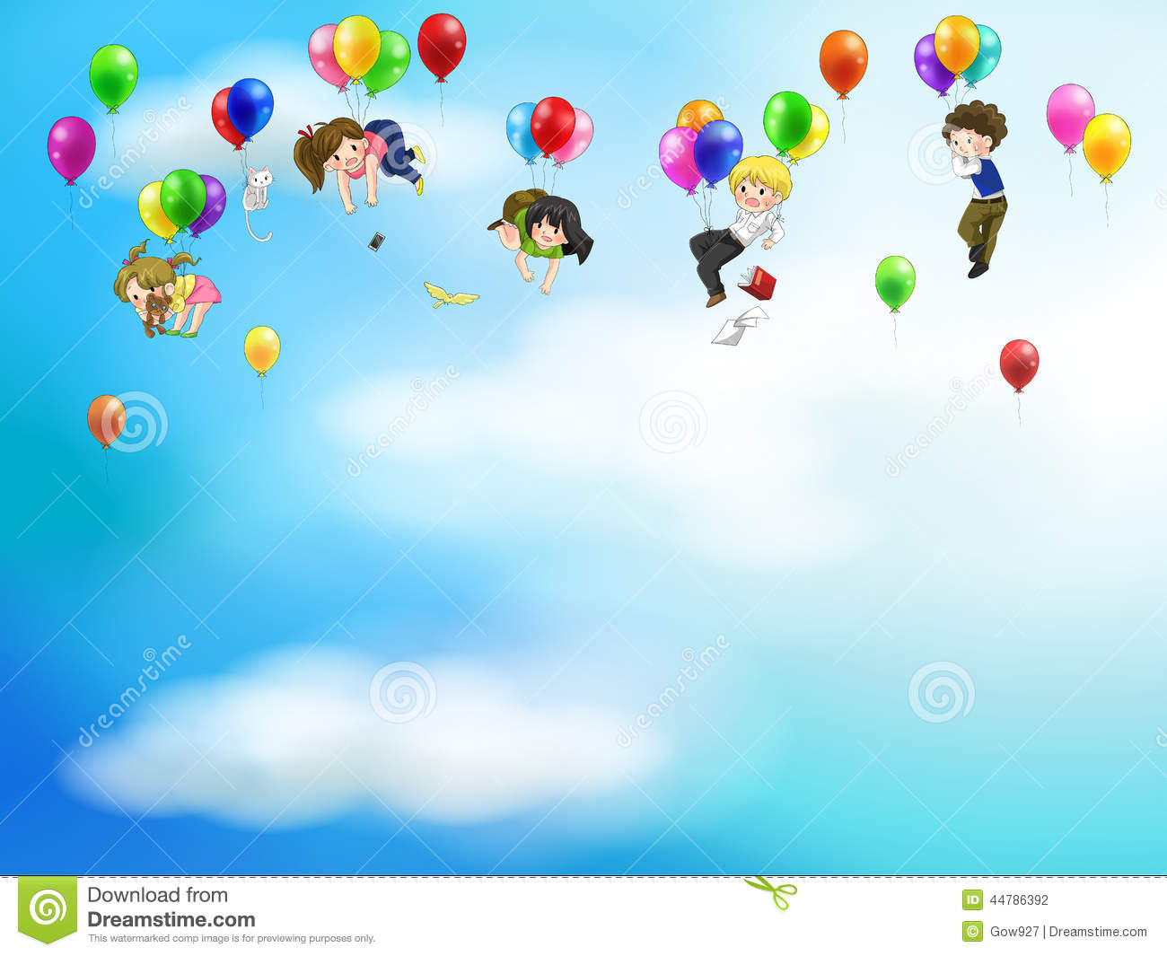 Cute Cartoon Bird Wallpapers Cute Cartoon People And Children Floating In The S Stock