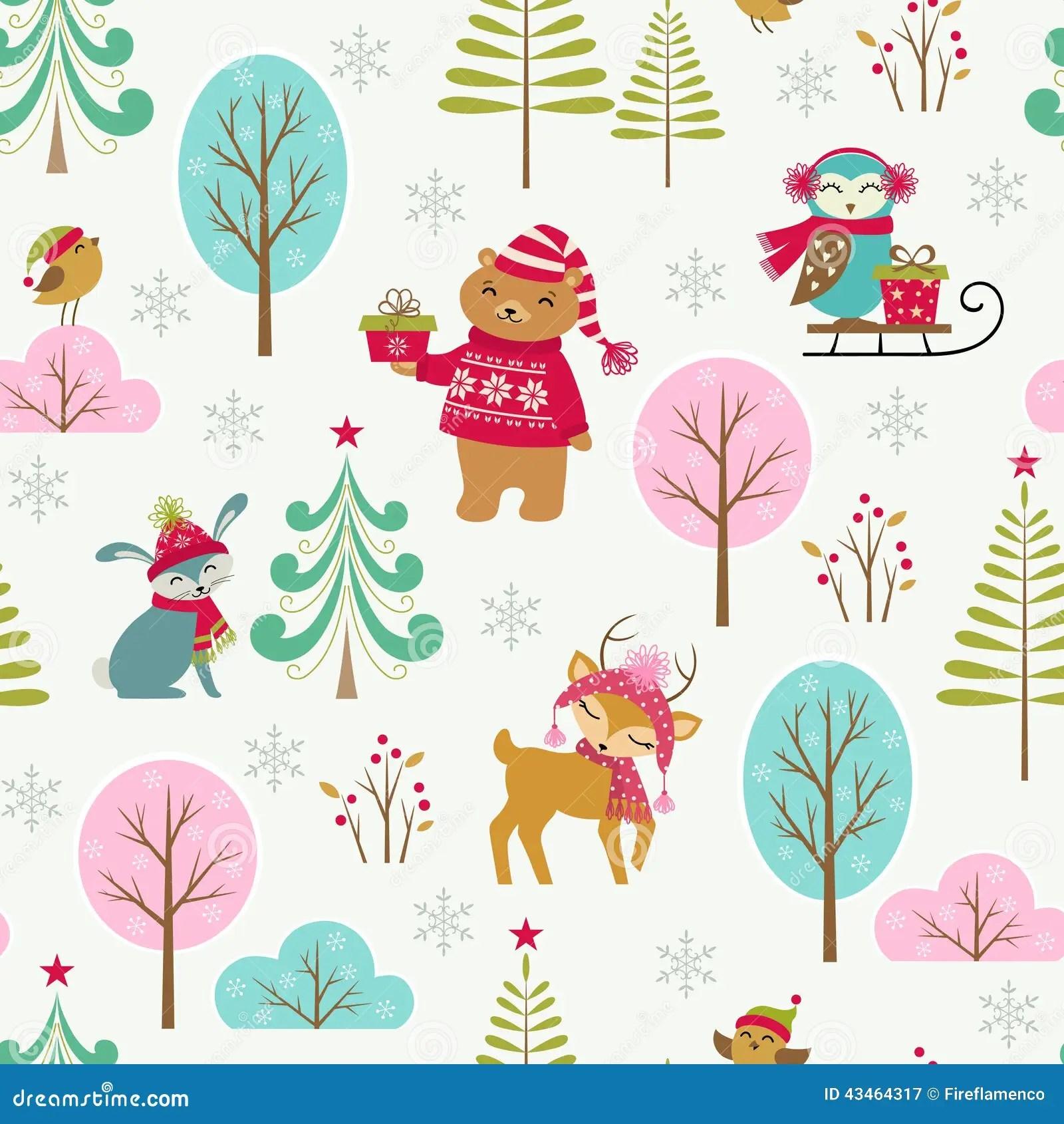 Cute Owl Cartoon Wallpaper Cute Christmas Forest Pattern Stock Vector Image 43464317