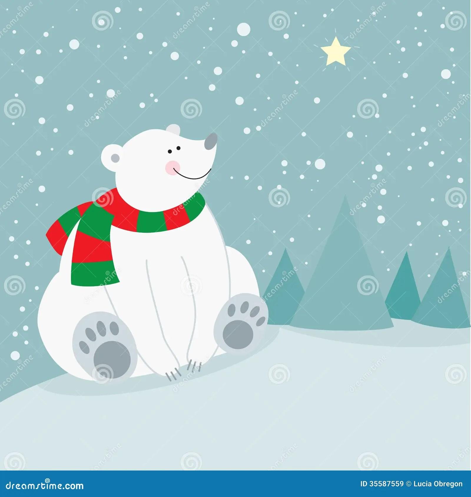 Cute Penguin Wallpaper Cartoon Cute Christmas Holiday Polar Bear Stock Illustration
