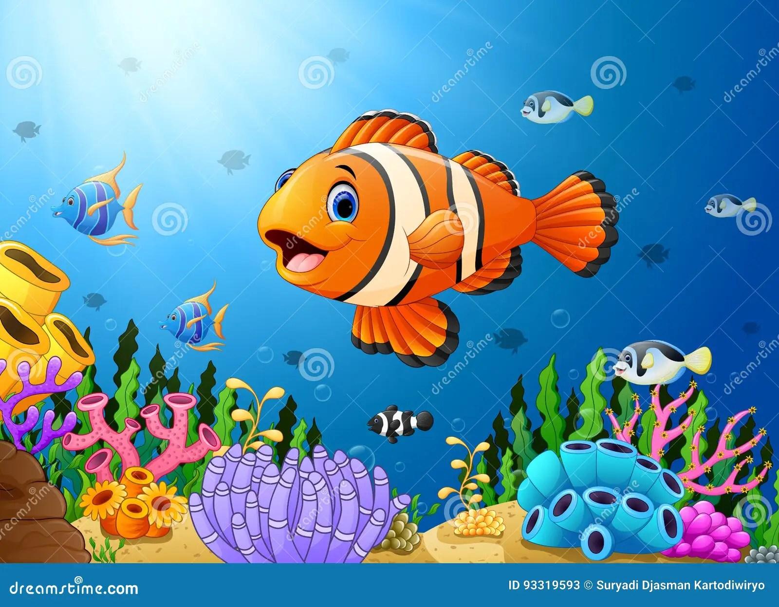 Cute Algae Wallpaper Cute Clown Fish Cartoon In The Sea Stock Vector