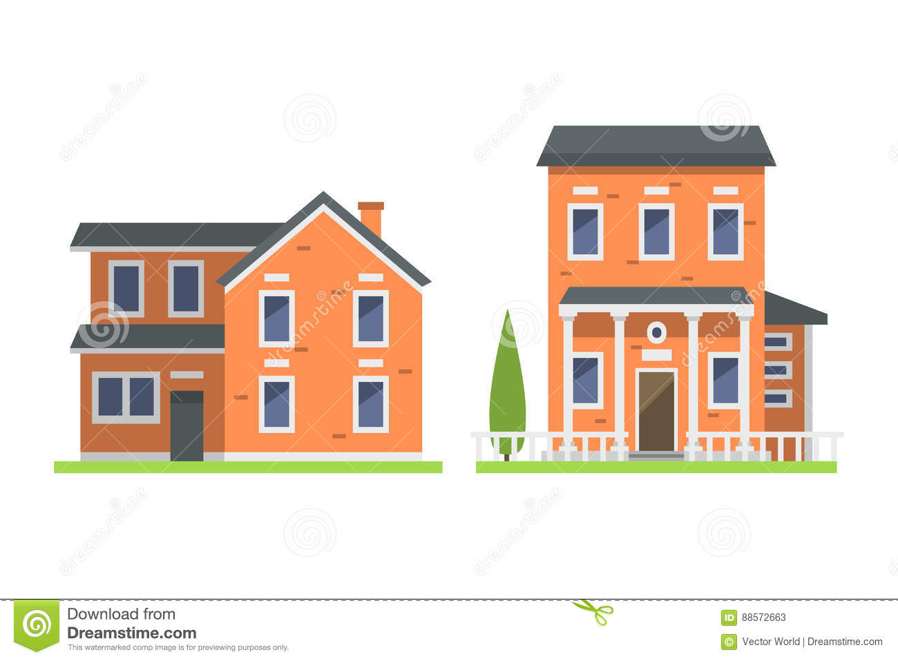 Cute Colorful Flat Style House Village Symbol Real Estate Cottage And Home Design Residential Colorful Building Stock Vector Illustration Of Graphic Construction 88572663