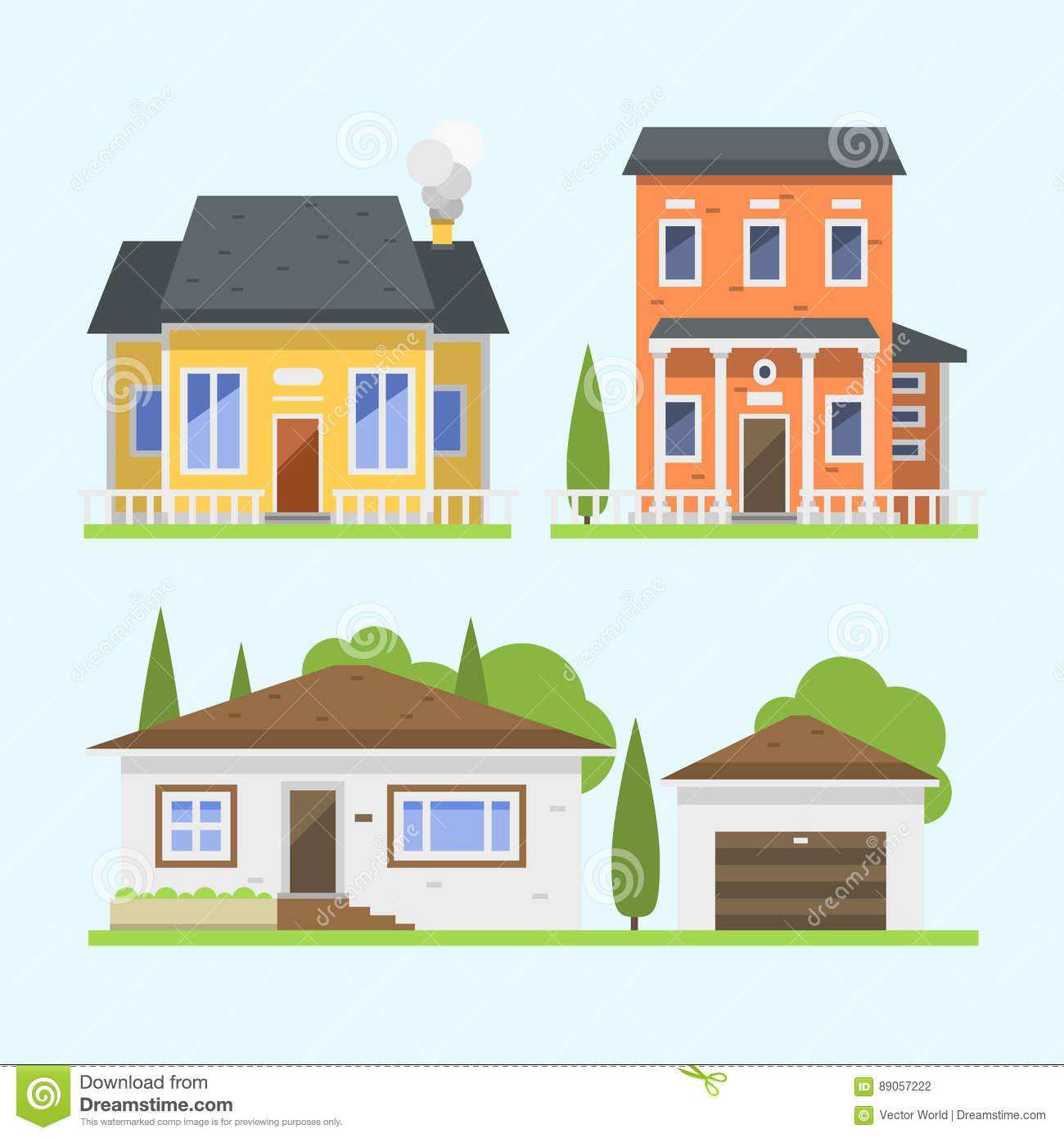 Cute Colorful Flat Style House Village Symbol Real Estate Cottage And Home Design Residential Colorful Building Stock Vector Illustration Of House Place 89057222