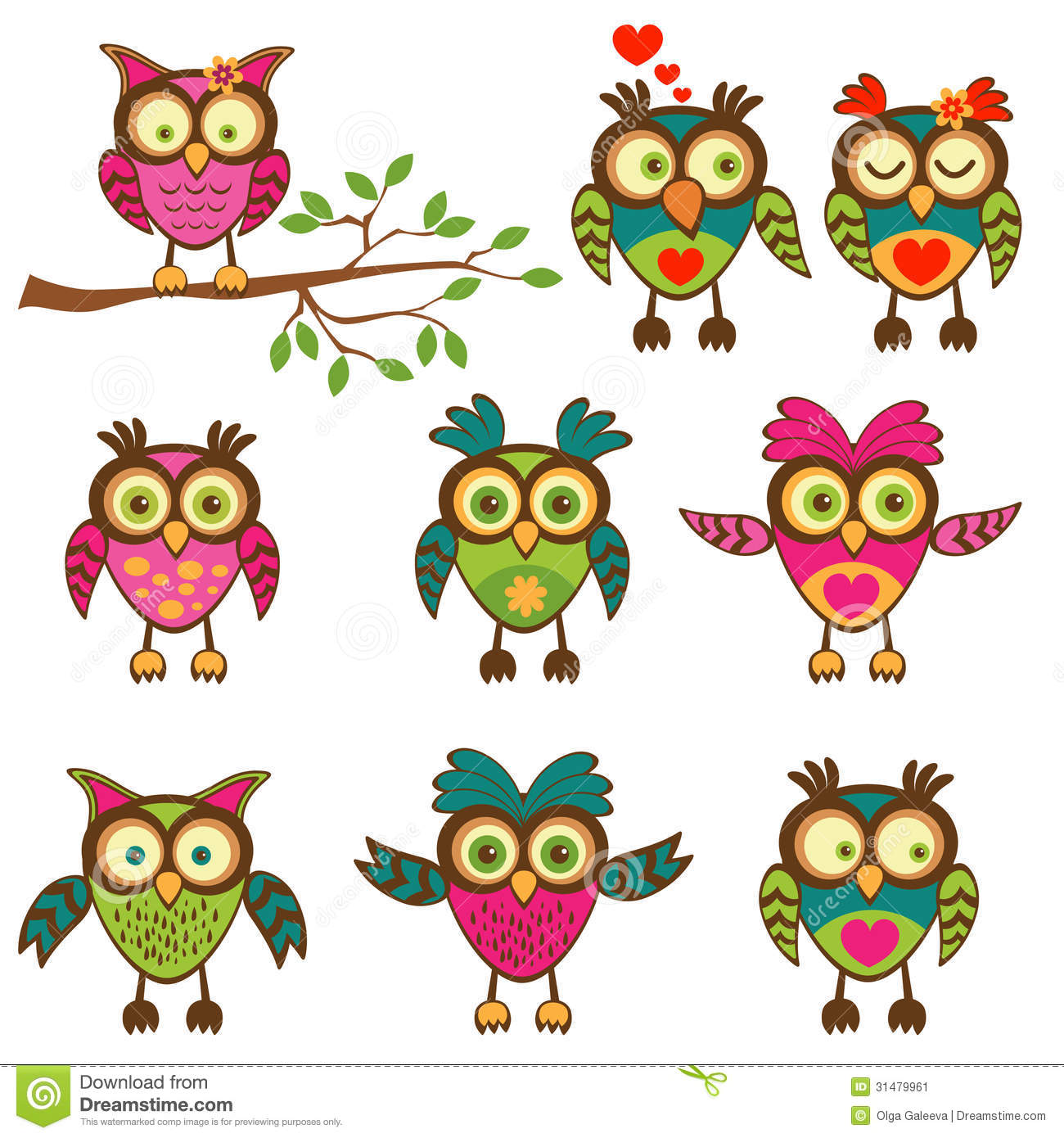 Colorful Pictures Of Owls Cute Colorful Owls Collection Stock Image Image 31479961