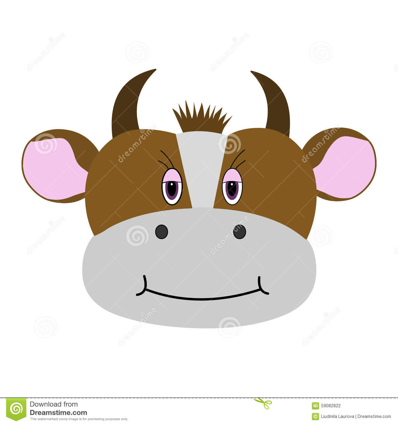 Isolation Carton Cute Cow Cartoon On A White Background Isolation Stock