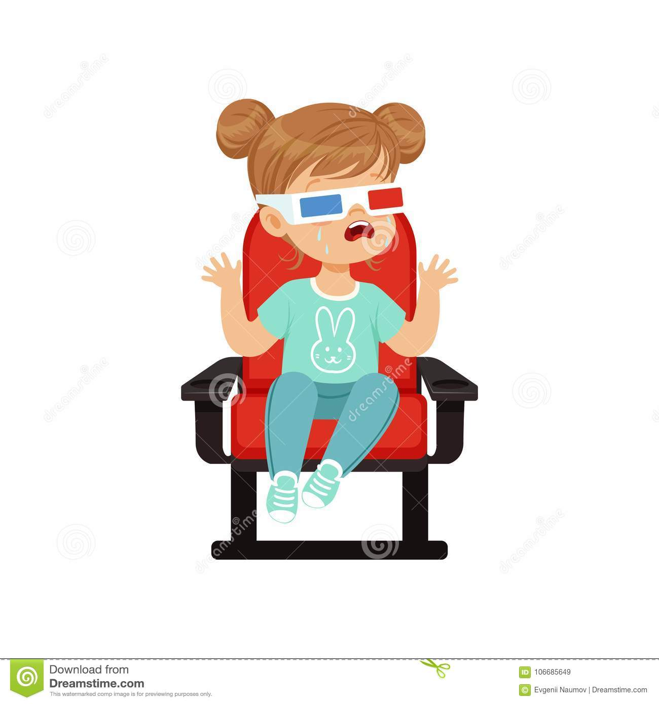 Cute Reading Chairs Cute Crying Little Girl In 3d Glasses Sitting On A Red