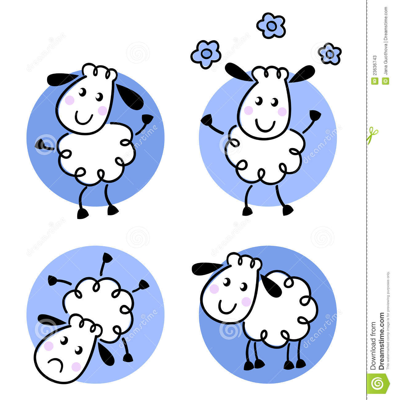 Cute Sheep Drawing Tumblr Stock Photos Cute Doodle Sheep Collection Image 23636743