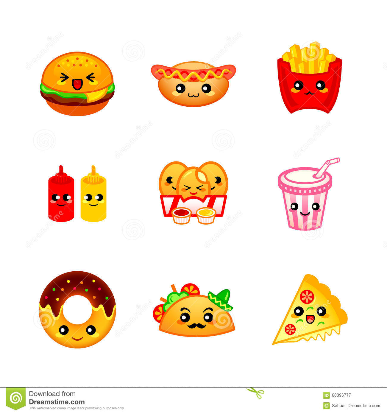 Cute Chicken Nugget Wallpaper Cute Fast Food Icons Stock Vector Image 60396777