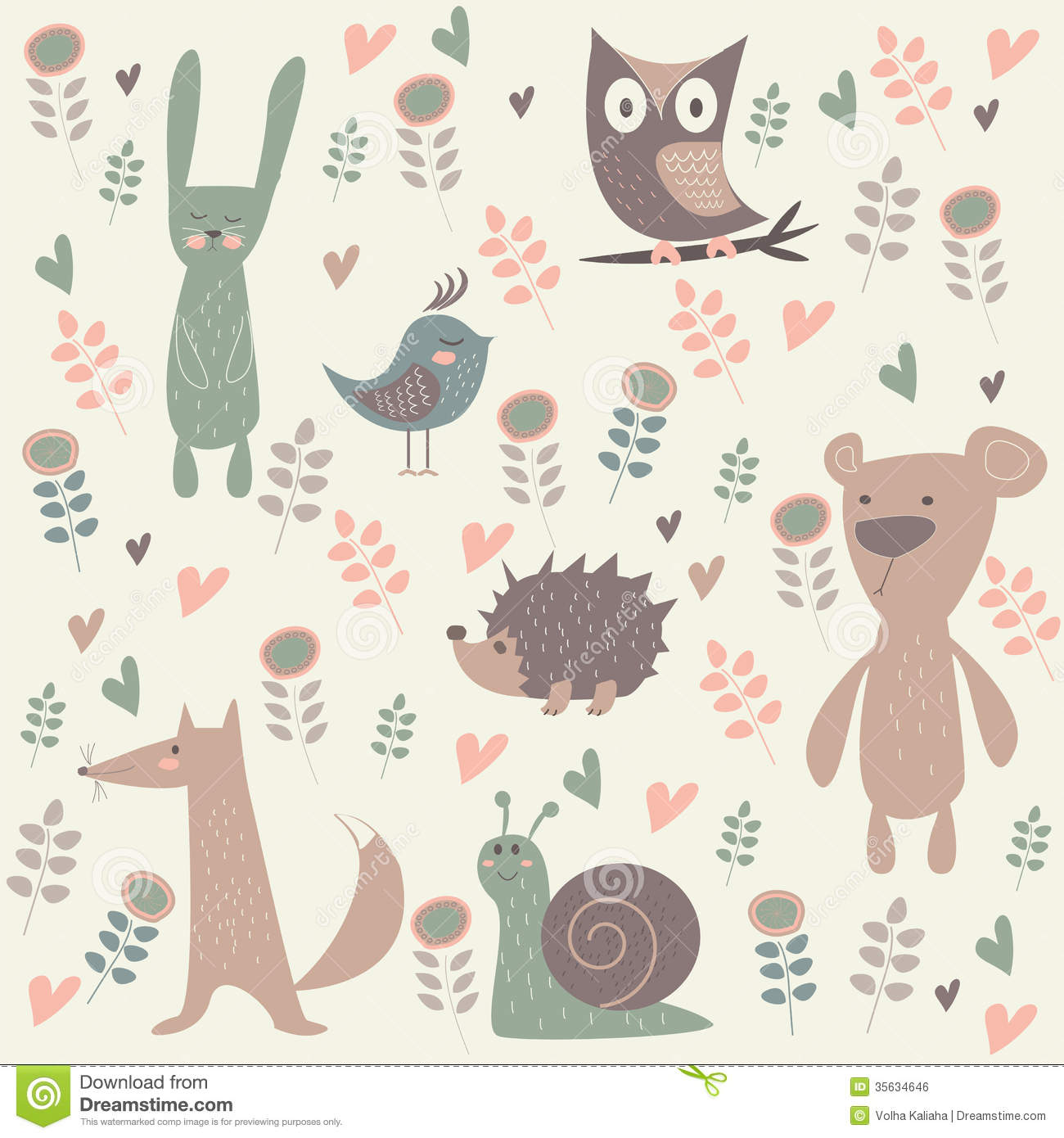 Bohemia Wallpaper 3d Cute Forest Animals Royalty Free Stock Image Image 35634646